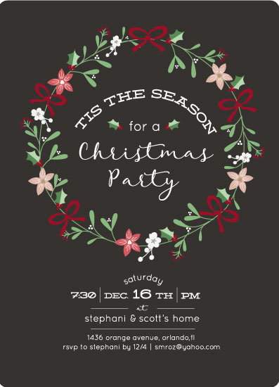 party invitations - Christmas Florals by Stephani Mrozinski