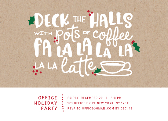 party invitations - Deck the Halls with Pots of Coffee by Cina Catteau