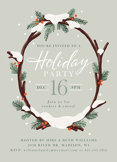 party invitations - Snowy Wreath by Jamie Schultz Designs