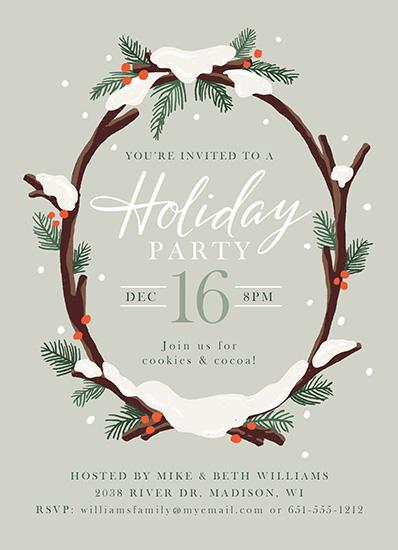 party invitations - Snowy Wreath by Jamie Schultz Designs