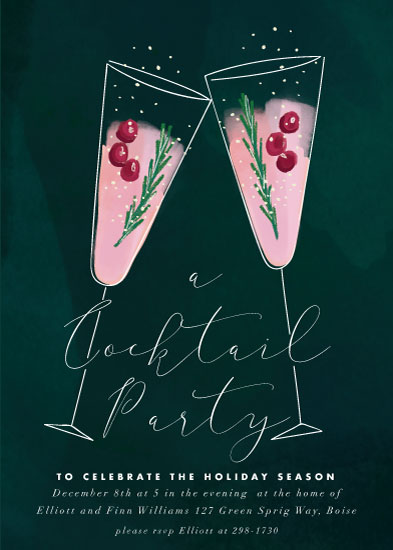 party invitations - a holiday toast by Rebecca Durflinger