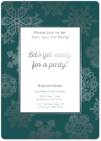 party invitations snowflakes new year 2018 invitation card by nellik