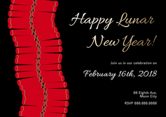 party invitations - Firecrackin' Lunar New Year by Designs by Aili