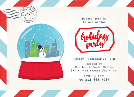 party invitations - Merry Snow Globe by Belina Lizarzabal