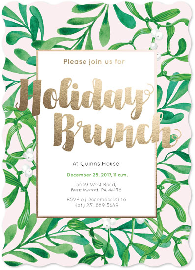 party invitations - Holiday Brunch Green Foliage Invitation by NelliK