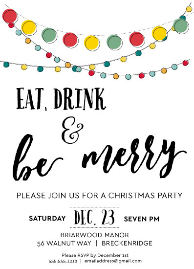 party invitations - Merry Lights by Angie Pope