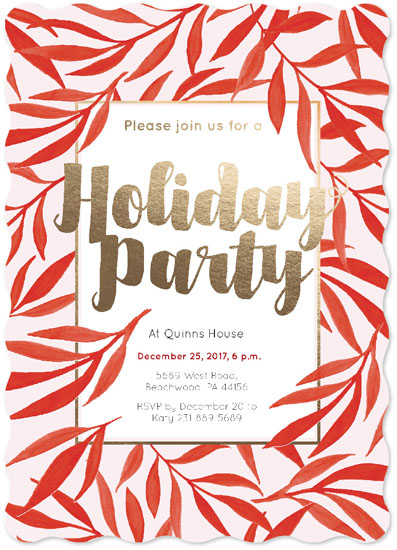 party invitations - Holiday Part Invitation Red Foliage by NelliK