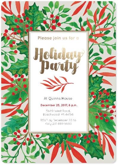 party invitations - Holiday Part Invitation Red Green Foliage by NelliK