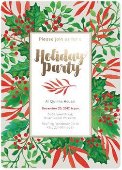 Holiday Part Invitation Red Green Foliage