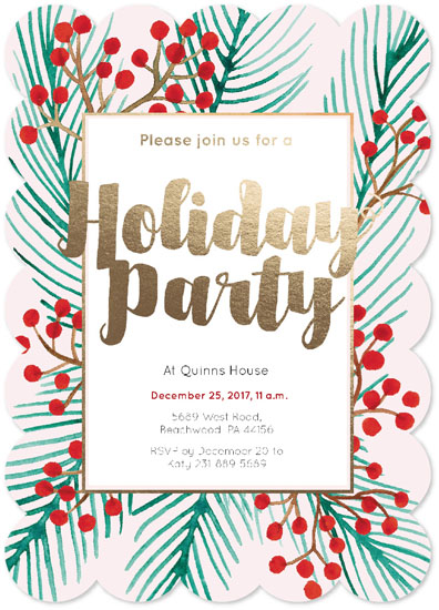 party invitations - Holiday Part Invitation Red Berries by NelliK