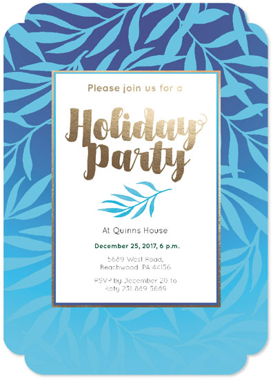 party invitations - Holiday Part Invitation Blue Foliage by NelliK
