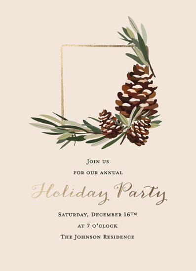 party invitations - Asymmetrical Botanical Wreath by Dainty Lines