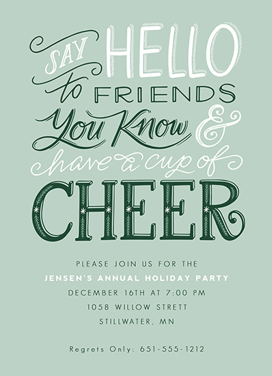 party invitations - Have a Cup of Cheer by Jamie Schultz Designs