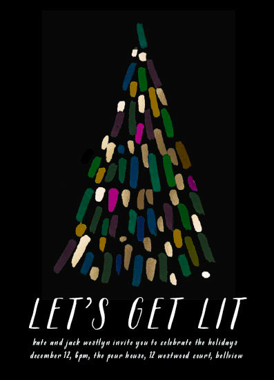 party invitations - Lit Tree by Baumbirdy