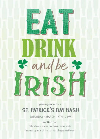party invitations - Eat, drink and be Irish St. Patrick's Day Invitation by Kann Orasie