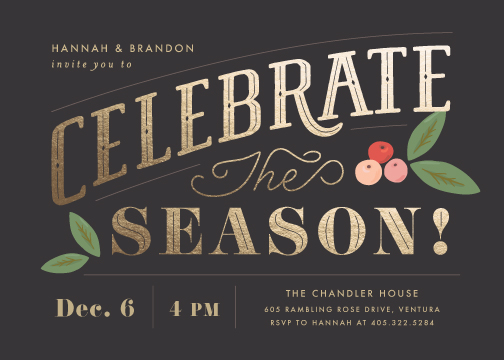 party invitations - Celebrate the Season by Griffinbell Paper Co.