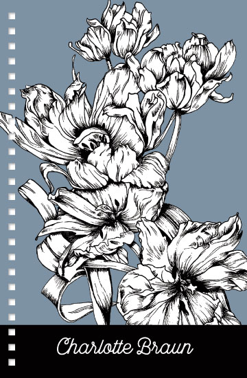 - BW Fire Tulip on Blue Notebook by Carlita Brown Christian