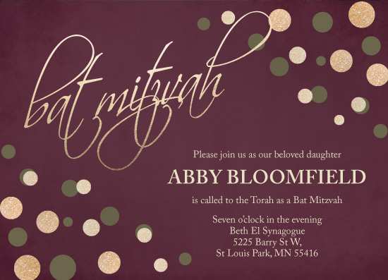 invitations - Dots & Cursive on Burgundy by Brittany Long Design