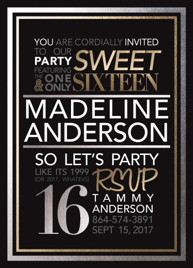 invitations - Silver & Gold Typographic Sweet 16 by Brittany Long Design