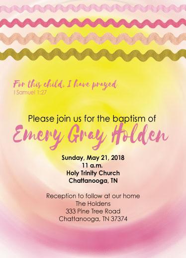 invitations - Ric Rac baptism by Kendra Stanton Lee