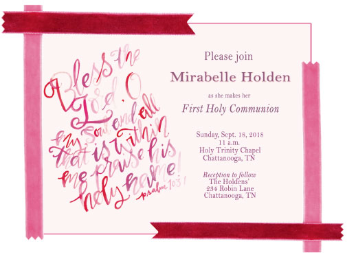 invitations - First Communion in Pink by Kendra Stanton Lee