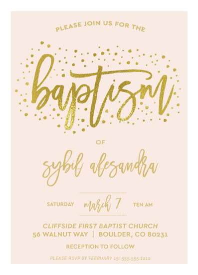 invitations - Simple Confetti Baptism by Angie Pope