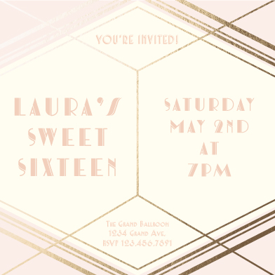 invitations - Deco Sweet Sixteen by Designs by Aili