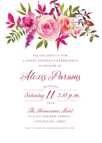 invitations - Happiness is...Sweet Sixteen by Katherine Stout