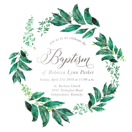 invitations - Ivy Leaves Baptism by Katherine Stout