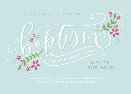 invitations - Pretty Floral Baptism by Nicola