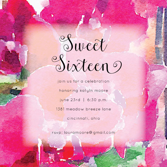 invitations - Pink Orchid Beauty Sweet Sixteen by Katherine Stout