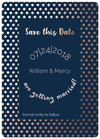 save the date cards - Dotted Rose Gold by Harmony Cornwell