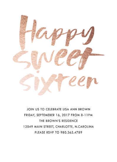 invitations - Happy Sweet Sixteen by Alethia Frye
