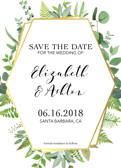 save the date cards - Geometric Greenery by Jordyn Alison Designs