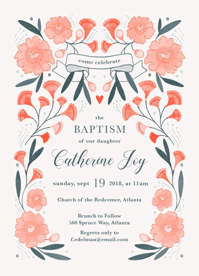 invitations - Blooming Garden Baptism by Paper Raven Co.