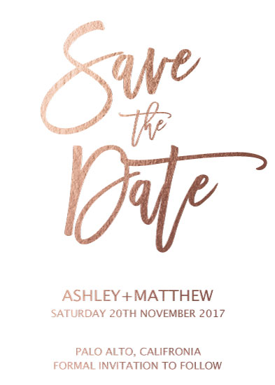 save the date cards - Rose Goldy by Liza Frozen