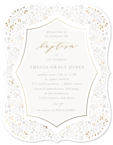 invitations - Baptism Floral by Julie Murray