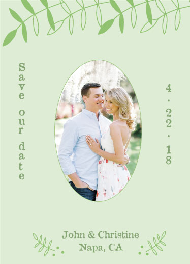 save the date cards - Fresh Leaves by Orange Poppy Designs