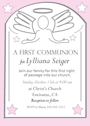 invitations - Angels Embrace A First Communion by Kristen Niedzielski