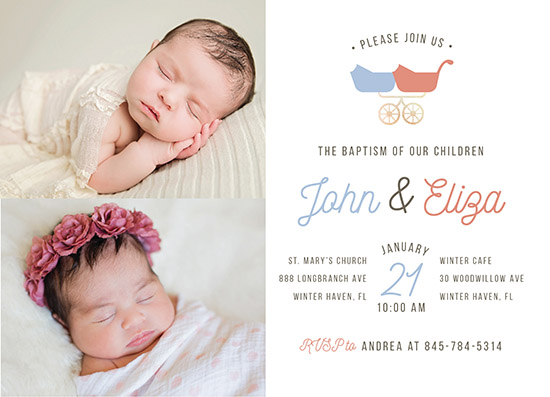 invitations - Twin Crib Baptism by Carlota Suaco