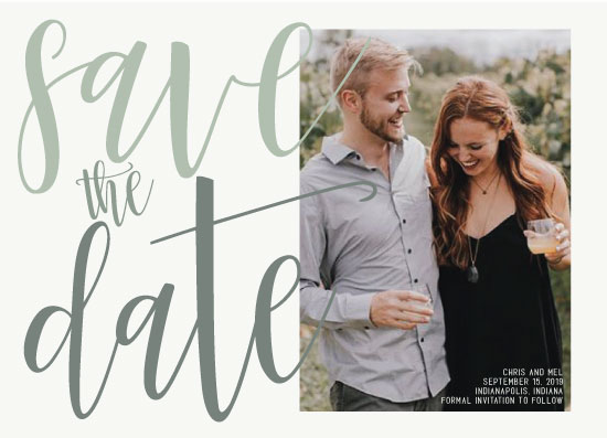 save the date cards - Green Ombre by Kendal Leffler
