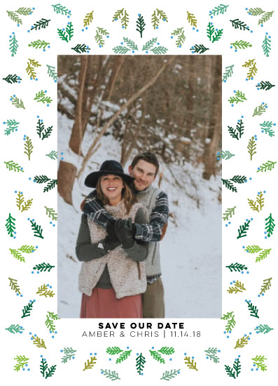 save the date cards - Save a Date + Pine Sprigs by Rae Kaiser