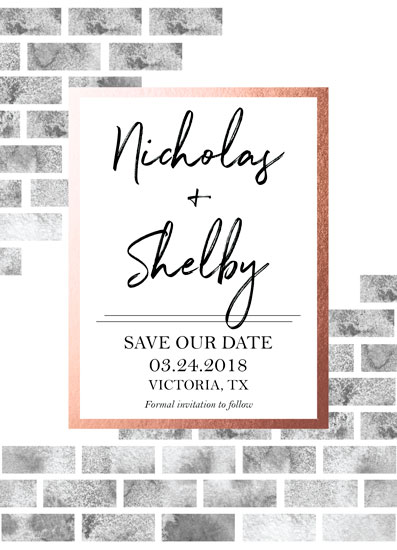 save the date cards - Building our Love, Brick by Brick by Shelby Schaefer