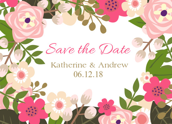 save the date cards - Flower Frame by Patterned Pomegranate