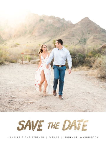 save the date cards - Brushed Gold Boho by Nikki Castiglione