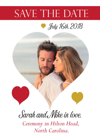 save the date cards - Lovers Enclosed in a heart by Kristen Niedzielski
