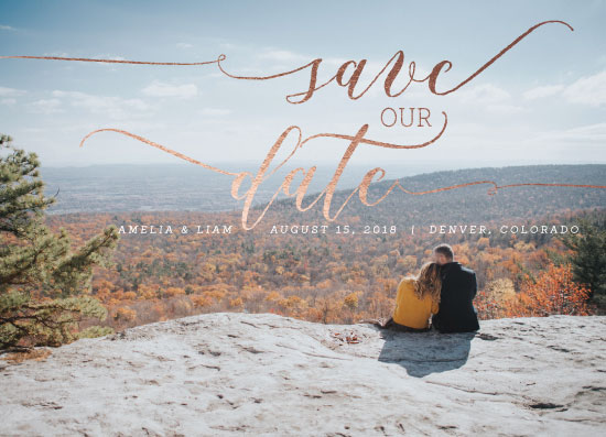 save the date cards - Large Top Script by Angie Pope