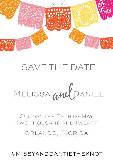 save the date cards - Papel Picado Save The Date by MICHELLE MARKS