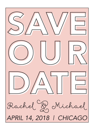 save the date cards - Light Pink Date by Angie Pope