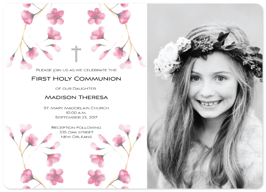 invitations - Pink Floral Holy Communion by Mary Ann Glynn-Tusa